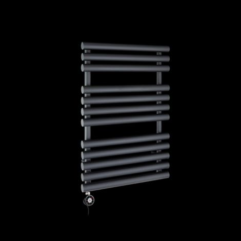 Cirtowelo Black Compact Thermostatic Electric Towel Rail 755mm high x 520mm wide