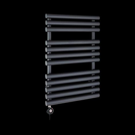 Cirtowelo Dark Grey Compact Thermostatic Electric Towel Rail 755mm high x 520mm wide