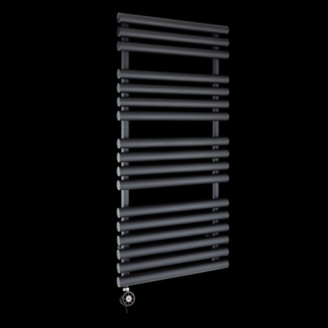 Cirtowelo Black Thermostatic Electric Towel Rail 1085mm high x 520mm wide
