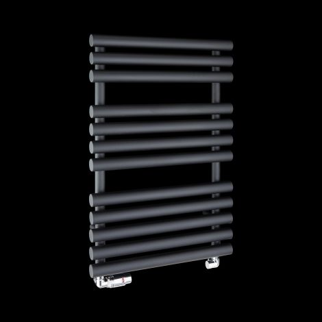 Cirtowelo Black Compact Heated Towel Rail 755mm high x 520mm wide