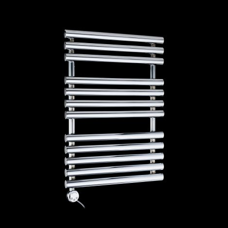 Cirtowelo Chrome Compact Thermostatic Electric Towel Rail 755mm high x 520mm wide