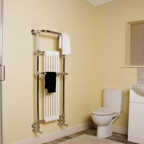 Conwy Chrome Wall Mounted Traditional Victorian Towel Radiator - 1352mm high x 576mm wide