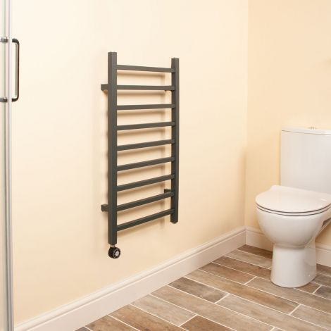 Cube Anthracite Square Bars Short Ladder Thermostatic Electric Towel Rail - 800mm high x 500mm wide