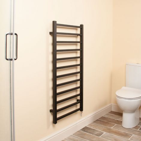 Cube Black Square Bars Ladder Electric Towel Rail - 1000mm high x 500mm wide,Small Image,Thumbnail Image,Small Image,Thumbnail Image