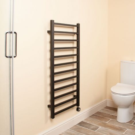 Cube Black Square Bars Ladder Thermostatic Electric Towel Rail - 1000mm high x 500mm wide