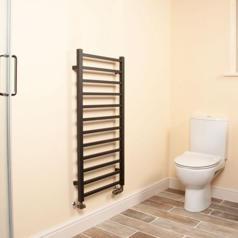 Cube Black Square Bars Ladder Heated Towel Rail - 1000mm high x 500mm wide