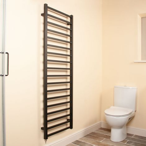 Cube Black Square Bars Ladder Tall Electric Towel Rail - 1500mm high x 500mm wide