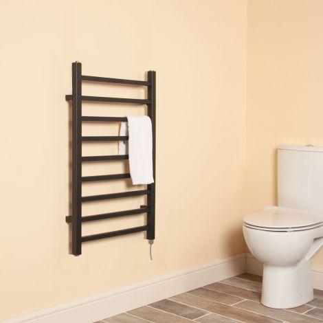 Cube Black Square Bars Short Ladder Electric Towel Rail - 800mm high x 500mm wide