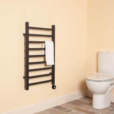 Cube Black Square Bars Short Ladder Thermostatic Electric Towel Rail - 800mm high x 500mm wide,Thumbnail Image,Thumbnail Image,Thumbnail Image,Thumbnail Image