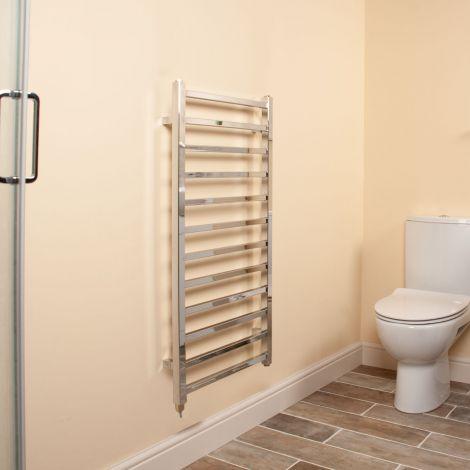 Cube Chrome Square Bars Ladder Electric Towel Rail - 1000mm high x 500mm wide