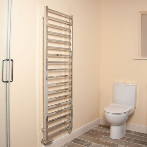 Cube Chrome Square Bars Tall Ladder Heated Towel Rail - 1500mm high x 500mm wide