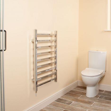 Cube Chrome Square Bars Short Ladder Electric Towel Rail - 800mm high x 500mm wide