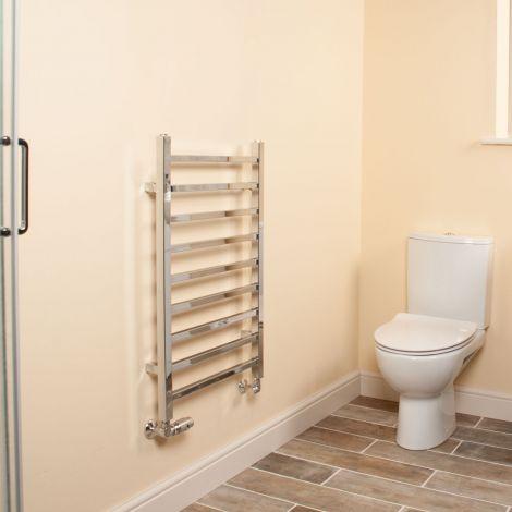 Cube Chrome Square Bars Short Ladder Heated Towel Rail - 800mm high x 500mm wide
