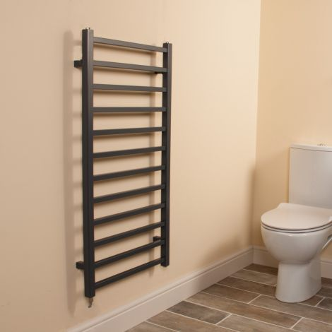 Cube Dark Grey Square Bars Ladder Electric Towel Rail - 1000mm high x 500mm wide