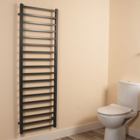 Cube Dark Grey Square Bars Ladder Tall Electric Towel Rail - 1500mm high x 500mm wide