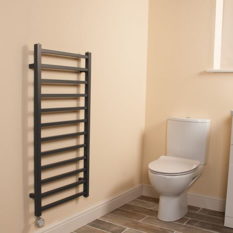 Cube Dark Grey Square Bars Ladder Thermostatic Electric Towel Rail - 1000mm high x 500mm wide