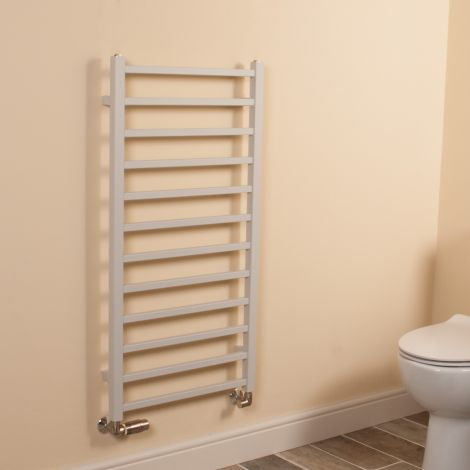 Cube Light Grey Square Bars Ladder Heated Towel Rail - 1000mm high x 500mm wide