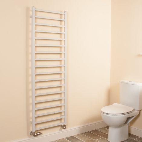 Cube Light Grey Square Bars Tall Ladder Heated Towel Rail - 1500mm high x 500mm wide