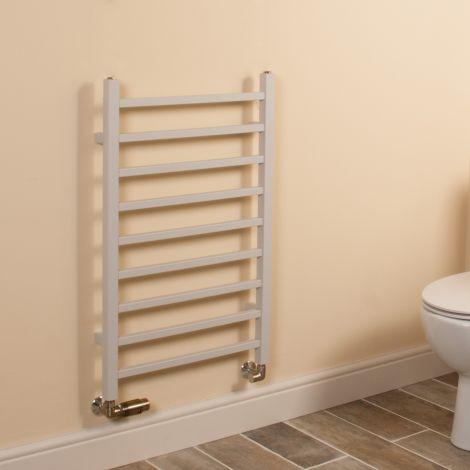 Cube Light Grey Square Bars Short Ladder Heated Towel Rail - 800mm high x 500mm wide