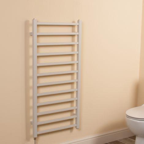 Cube Light Grey Square Bars Ladder Electric Towel Rail - 1000mm high x 500mm wide