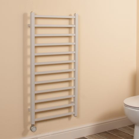 Cube Light Grey Square Bars Ladder Thermostatic Electric Towel Rail - 1000mm high x 500mm wide