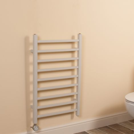 Cube Light Grey Square Bars Short Ladder Thermostatic Electric Towel Rail - 800mm high x 500mm wide