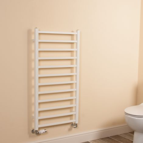 Cube White Square Bars Ladder Heated Towel Rail - 1000mm high x 500mm wide