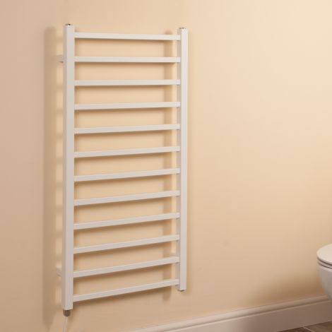 Cube White Square Bars Ladder Electric Towel Rail - 1000mm high x 500mm wide
