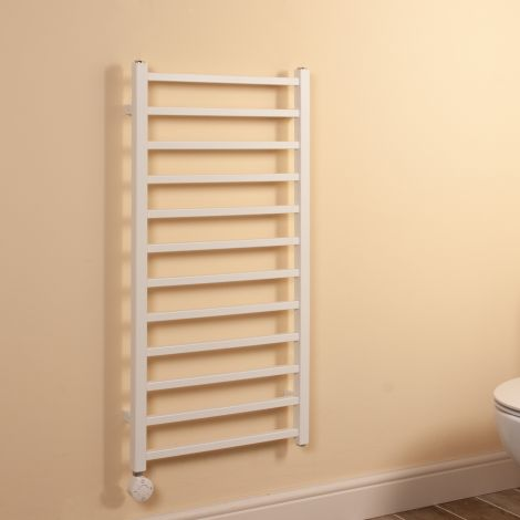 Cube White Square Bars Ladder Thermostatic Electric Towel Rail - 1000mm high x 500mm wide