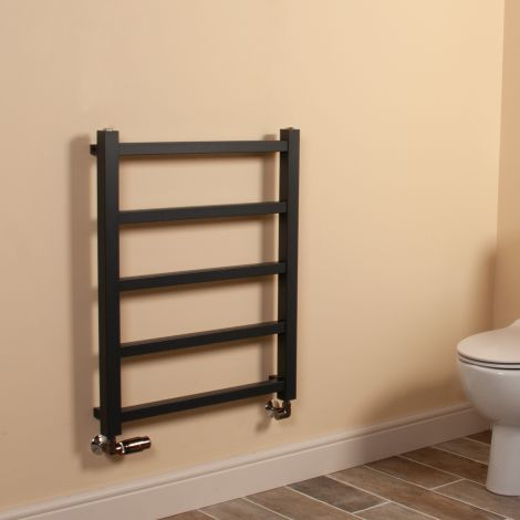 Cube PLUS Anthracite Square Bars Heated Towel Rail - 750mm high x 600mm wide