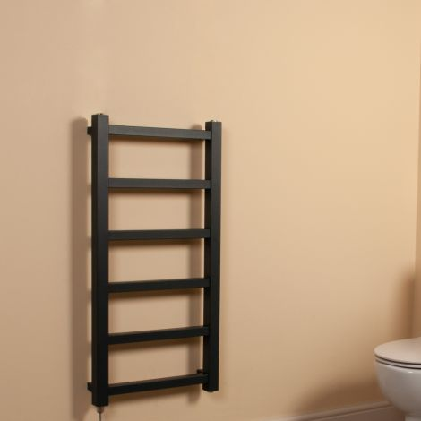 Cube PLUS Anthracite Square Bars Slim Electric Towel Rail - 900mm high x 450mm wide