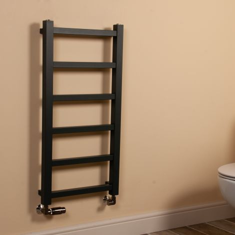 Cube PLUS Anthracite Square Bars Slim Heated Towel Rail - 900mm high x 450mm wide