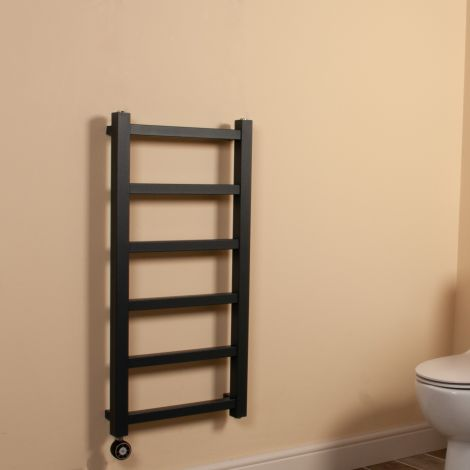 Cube PLUS Anthracite Square Bars Slim Thermostatic Electric Towel Rail - 900mm high x 450mm wide