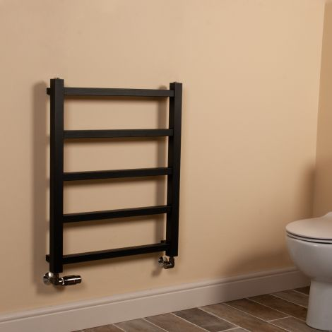 Cube PLUS Black Square Bars Heated Towel Rail - 750mm high x 600mm wide