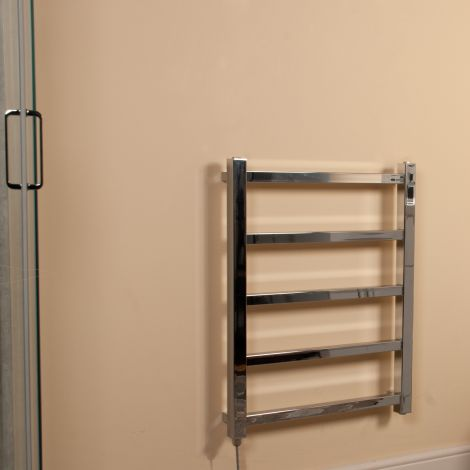 Cube PLUS Chrome Square Bars Space Saving Electric Towel Rail - 75mm high x 600mm wide