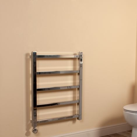 Cube PLUS Chrome Square Bars Space Saving Thermostatic Electric Towel Rail - 750mm high x 600mm wide
