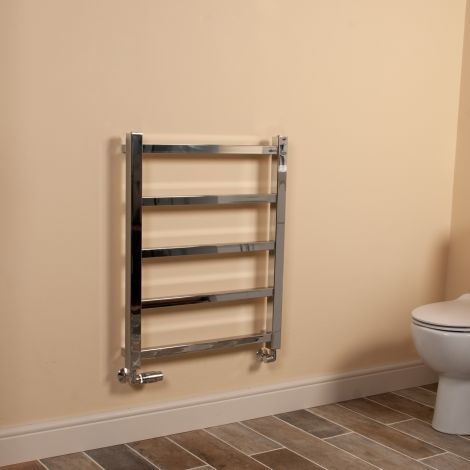 Cube PLUS Chrome Square Bars Space Saving Heated Towel Rail - 750mm high x 600mm wide