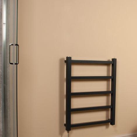 Cube PLUS Dark Grey Square Bars Space Saving Electric Towel Rail - 750mm high x 600mm wide