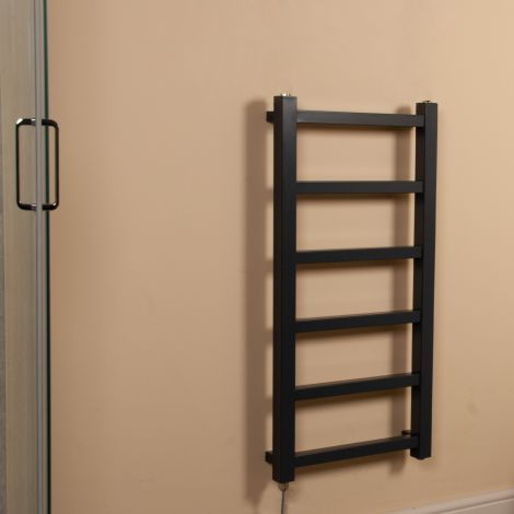 Cube PLUS Dark Grey Square Bars Slim Electric Towel Rail - 900mm high x 450mm wide