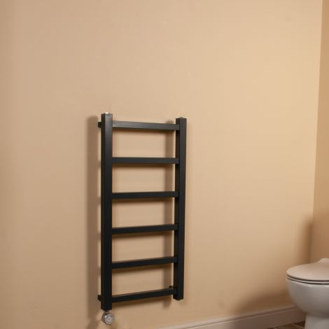 Cube PLUS Dark Grey Square Bars Slim Thermostatic Electric Towel Rail - 900mm high x 450mm wide