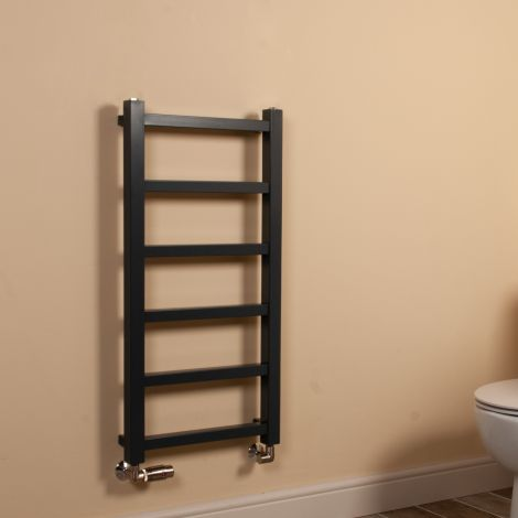 Cube PLUS Dark Grey Square Bars Slim Heated Towel Rail - 900mm high x 450mm wide