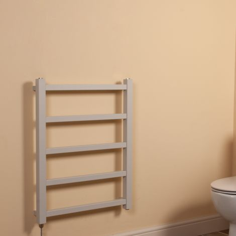 Cube PLUS Light Grey Square Bars Space Saving Electric Towel Rail - 750mm high x 600mm wide