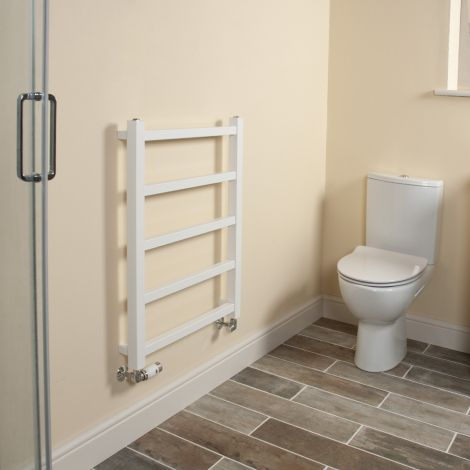 Cube PLUS White Square Bars Heated Towel Rail - 750mm high x 600mm wide