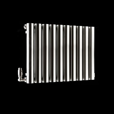 Cylinder Brushed Steel Designer Radiator 500mm high x 690mm wide