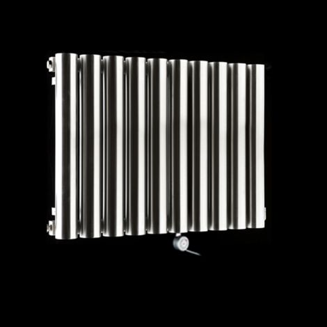 Cylinder Brushed Steel Space Saving Ecodesign Electric Radiator 500mm high x 690mm wide