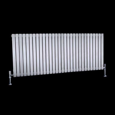 CLEARANCE - Flasteel Brushed Steel Horizontal Single Panel Radiator 600mm high x 1490mm wide