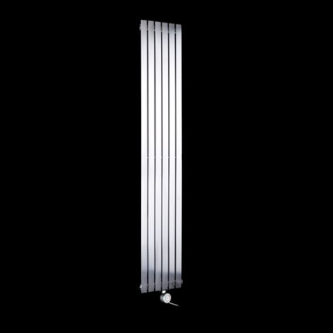 Flasteel Brushed Steel Tall Ultra Thin Ecodesign Electric Radiator 1800mm high x 290mm wide