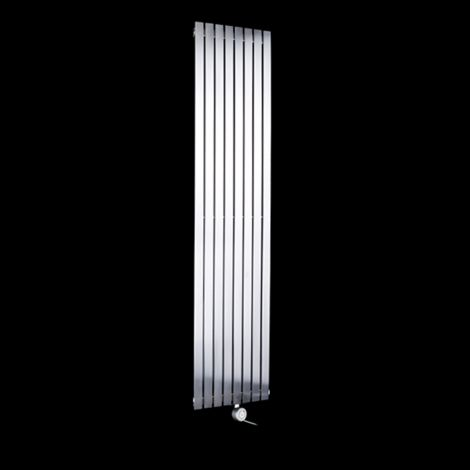 Flasteel Brushed Steel Tall Thin Ecodesign Electric Radiator 1800mm high x 390mm wide