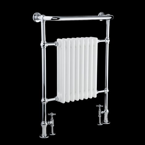 Haxby Chrome Traditional Victorian Towel Radiator (Projected Towel Bar) - 952mm high x 686mm wide