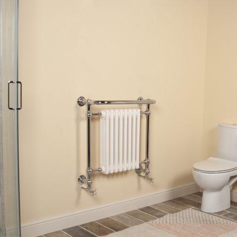 Hythe Chrome Traditional Victorian Towel Radiator (Projected Towel Bar) - 686mm high x 675mm wide